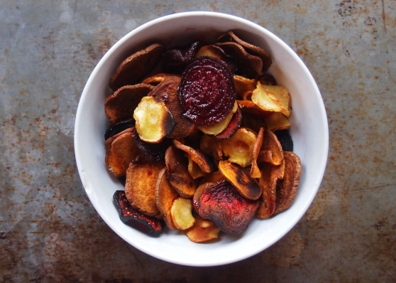 Root vegetable chips in bowl